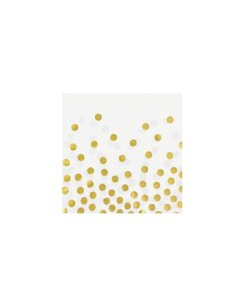 Serwetki białe w złote groszki