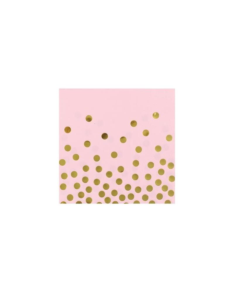 Serwetki różowe w złote groszki