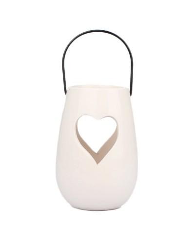 Ceramiczny lampion- świecznik serduszko