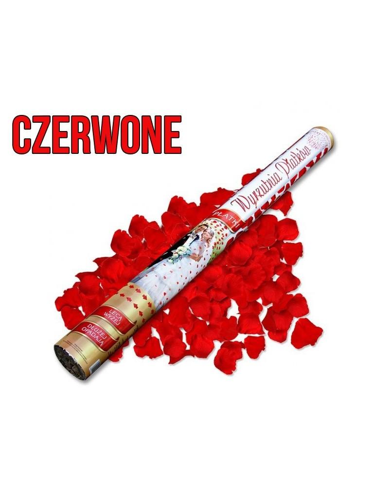 Wystrzałowe konfetti 60cm czerwone płatki róż