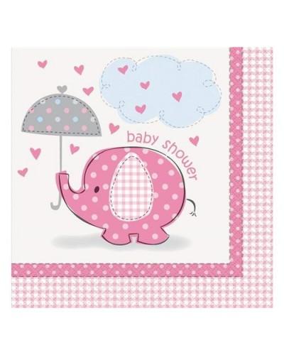 Serwetki baby shower różowe słonik