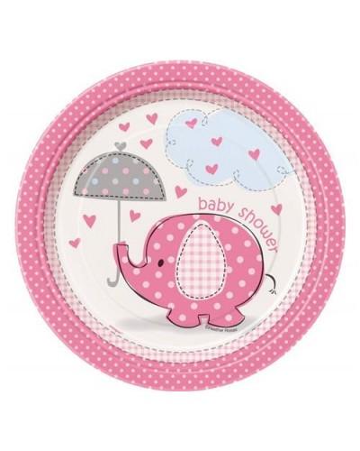 Talerzyki baby shower różowe słonik