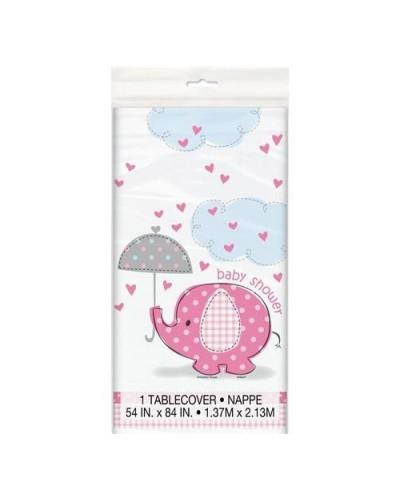 Obrus na baby shower różowy słonik