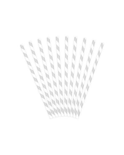 Słomki papierowe srebrne, 19,5cm