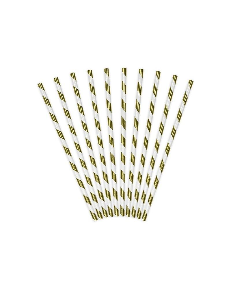 Słomki papierowe złote, 19,5cm