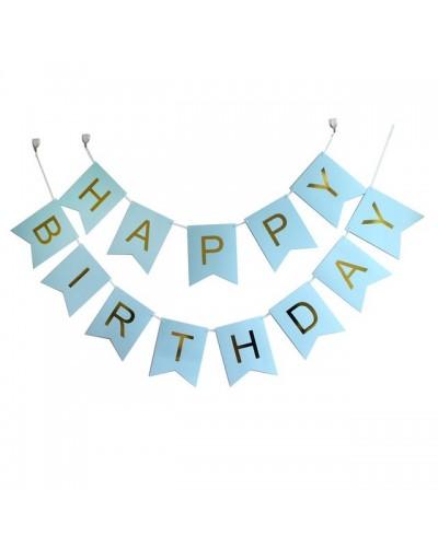 Girlanda- Baner Happy Birthday niebieskie flagi