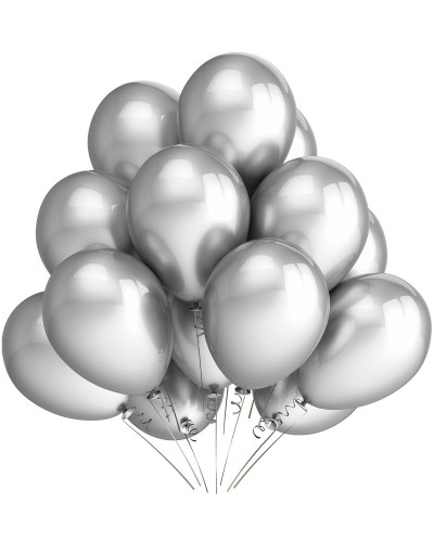 "Balony metaliczne 10"" srebrne"