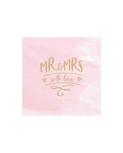 Serwetki różowe 33x33cm Mr & Mrs