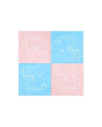 Serwetki różowe/niebieskie Boy or Girl