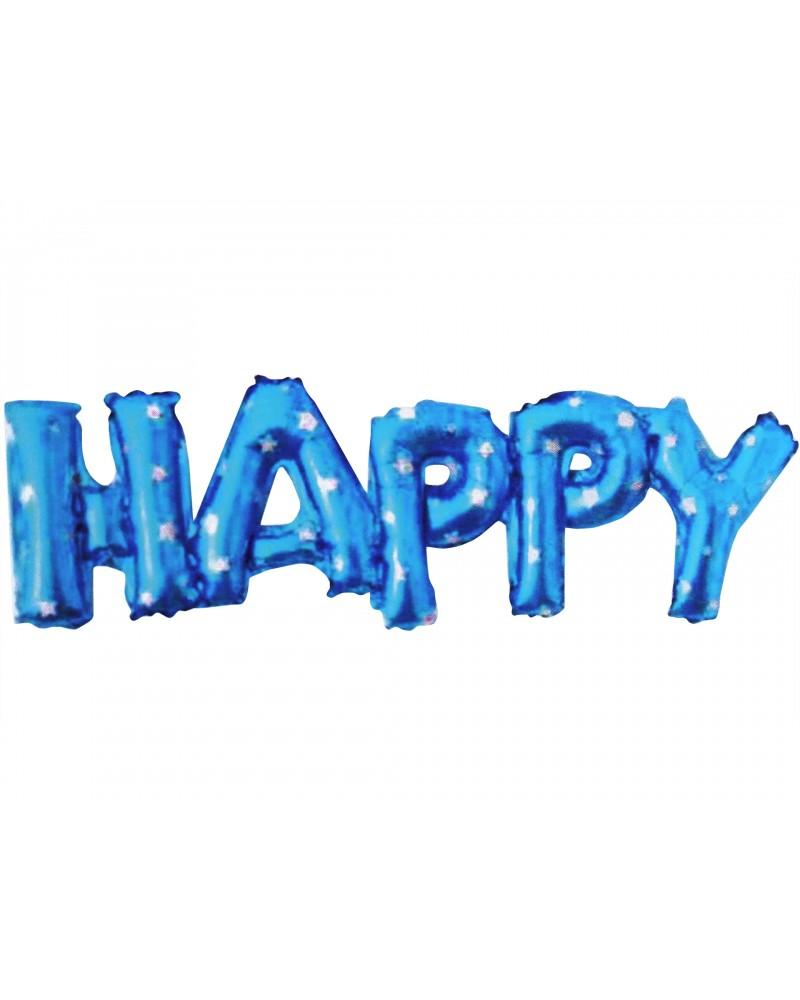 Balon foliowy Happy Niebieski