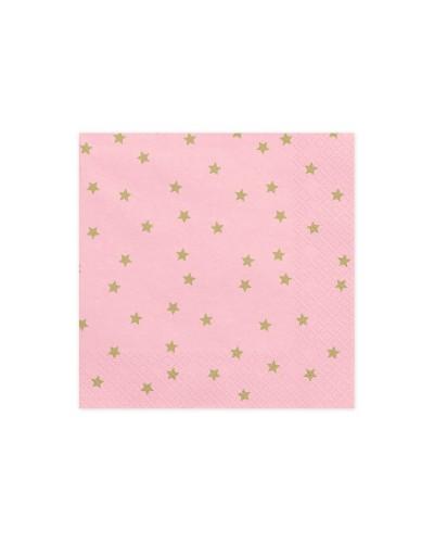 Serwetki Różowe w złote gwiazdki