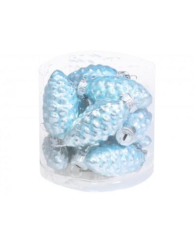 Bombki Szklane Szyszki Błękitne