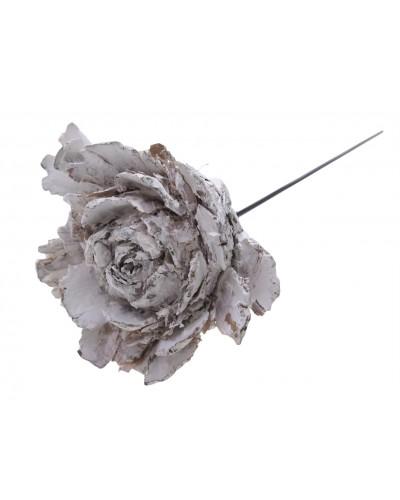Róża na drucie, white wash 12cm
