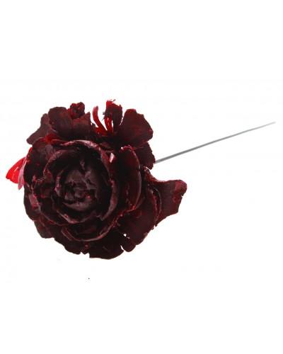 Róża na drucie, czerwona 12cm