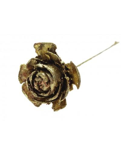 Róża na drucie, złota 12cm