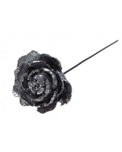 Róża na drucie, srebrna 12cm