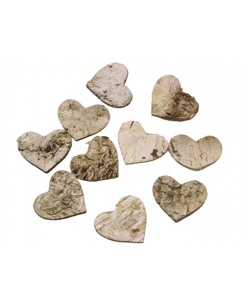 Serca, serduszka z kory 3,5cm, 10 szt.