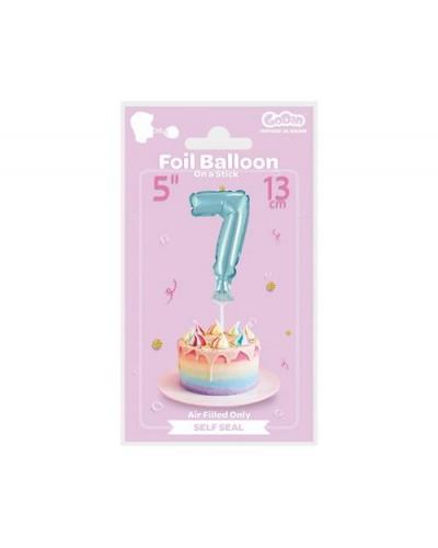 """Balon foliowy na patyczku """"Cyfra 7"""" błękitna"""