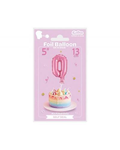 """Balon foliowy na patyczku """"Cyfra 0"""" różowa"""