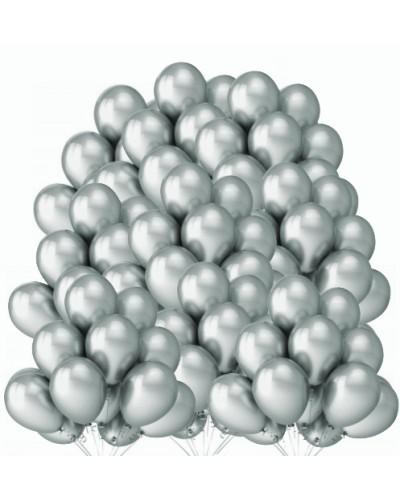 "Balony metaliczne 12"" srebrne 100 sztuk"