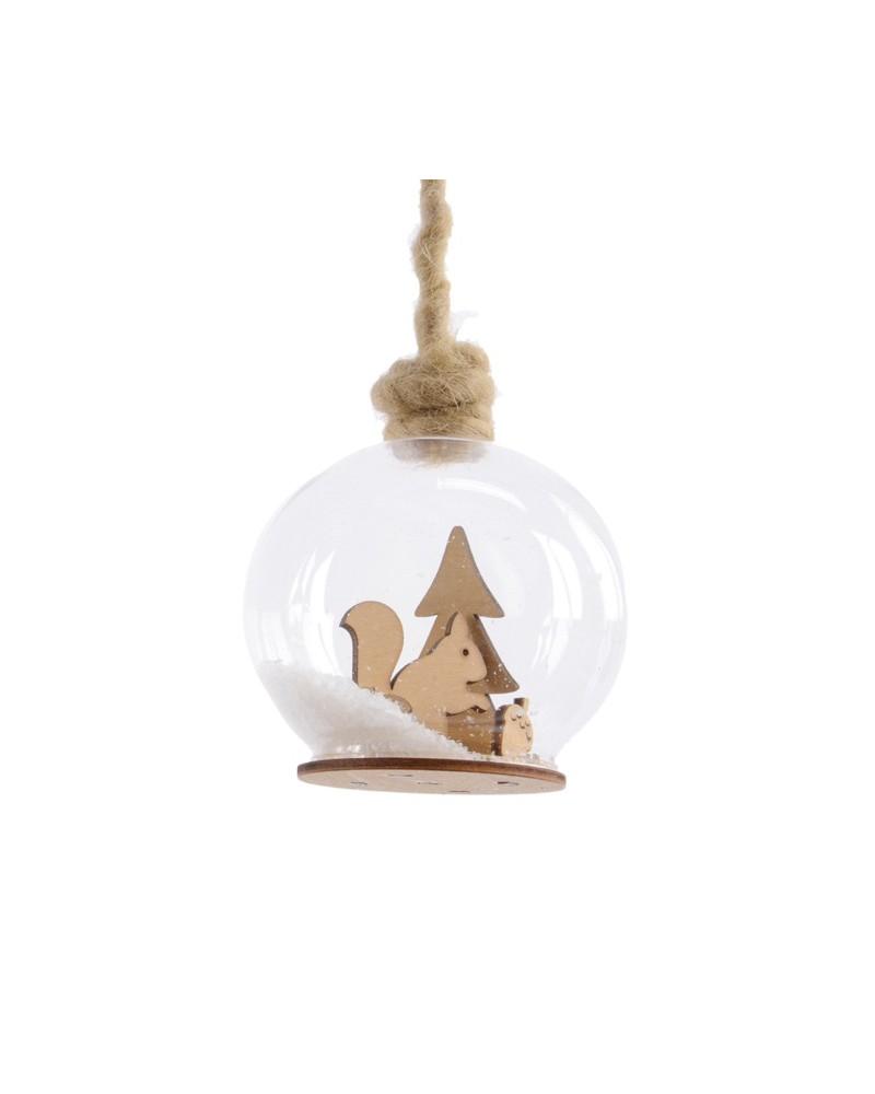 Bombka szklana z drewnianą wiewiórką