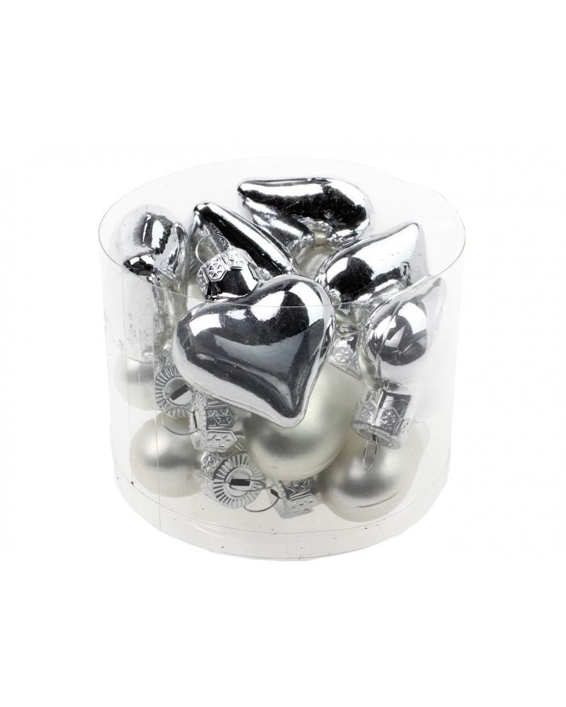 Bombki serduszka srebrne