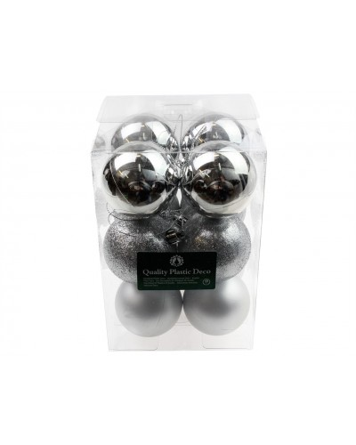 Bombki Plastikowe 6cm Srebrne