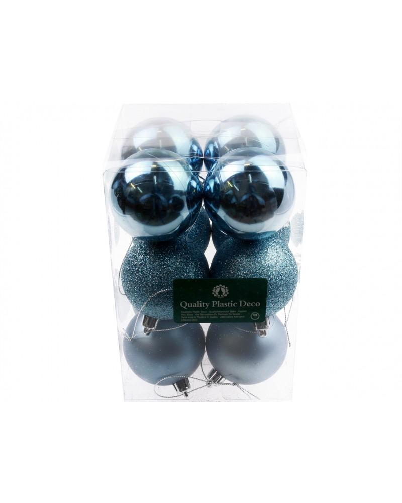 Bombki Plastikowe 6cm Błękitne