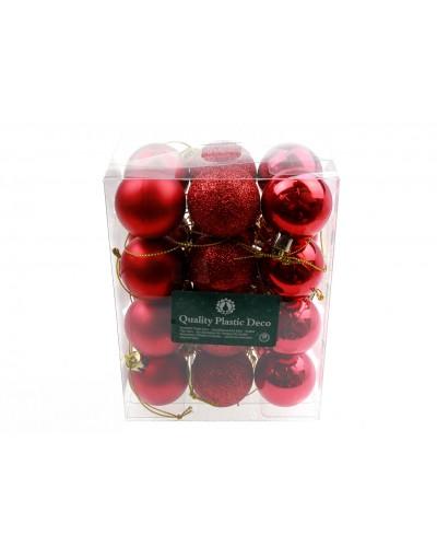 Bombki Plastikowe 4cm Czerwone
