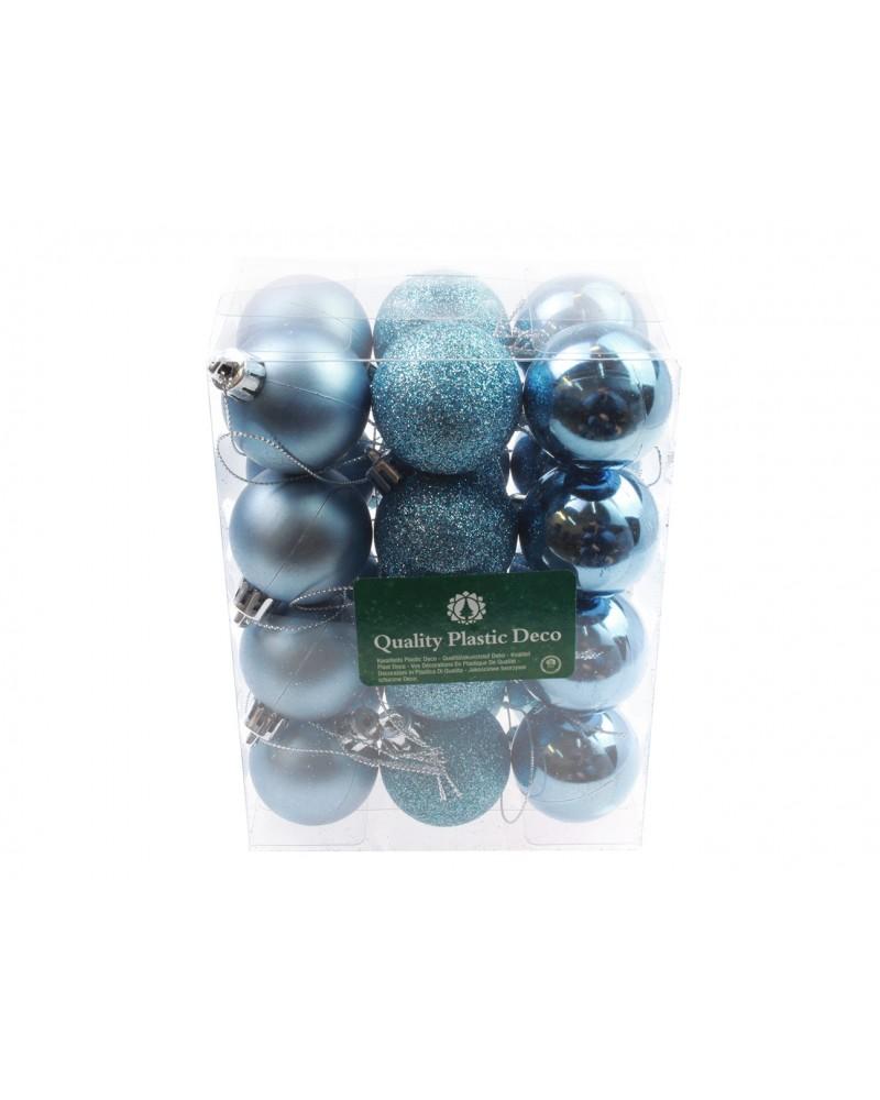 Bombki Plastikowe 4cm Błękitne