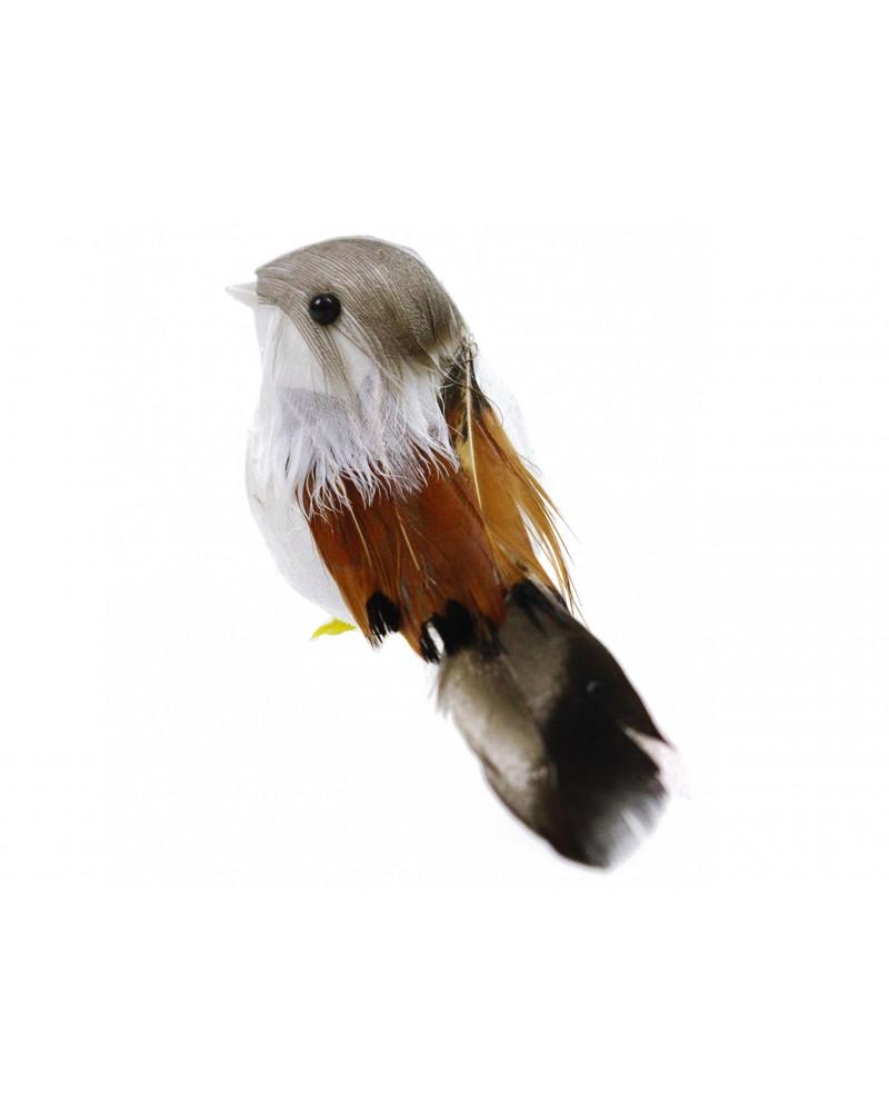 Ptaszek na choinkę brązowo biały