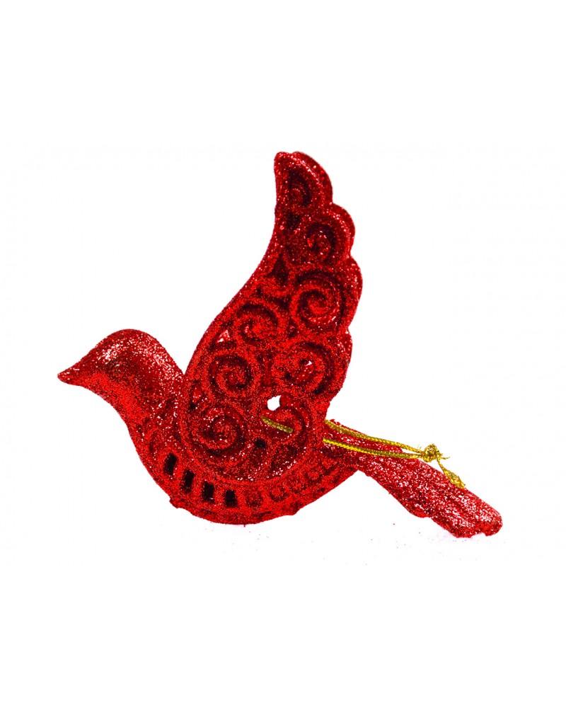 Ptaszek dekoracyjny czerwony na choinkę, ażurowy, 12cm
