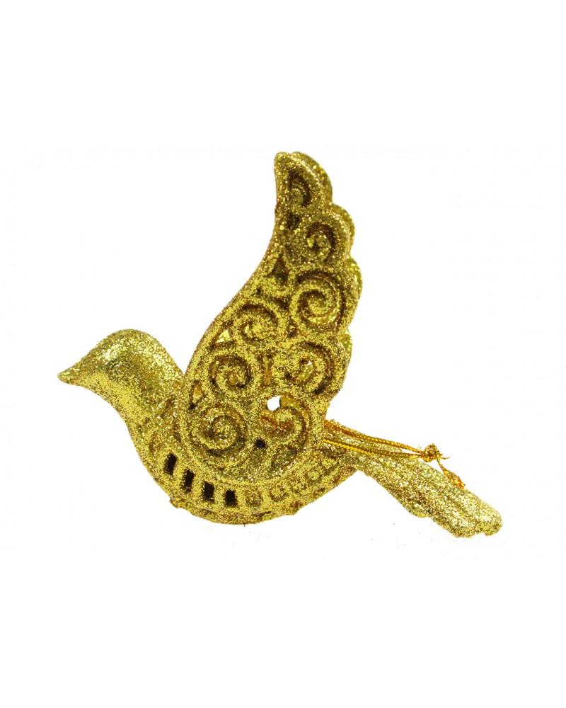 Ptaszek dekoracyjny złoty na choinkę, ażurowy, 12cm