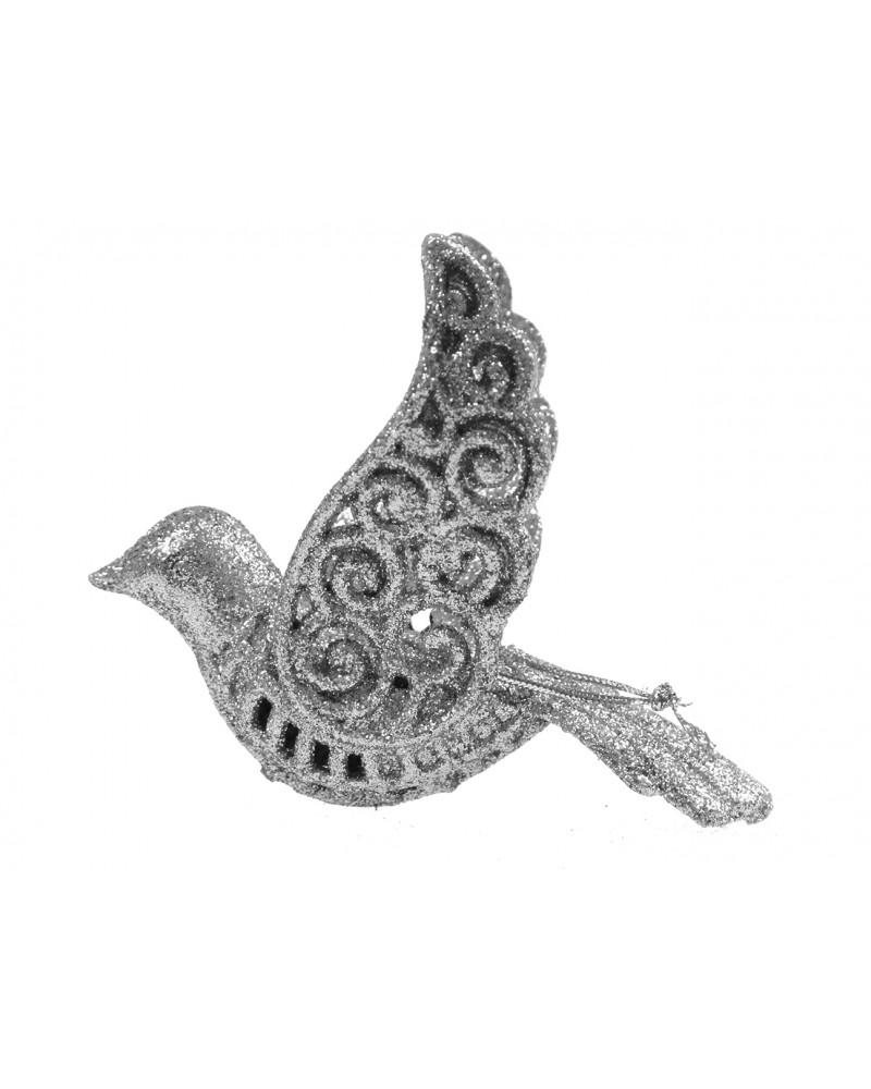 Ptaszek dekoracyjny srebrny na choinkę, ażurowy, 12cm