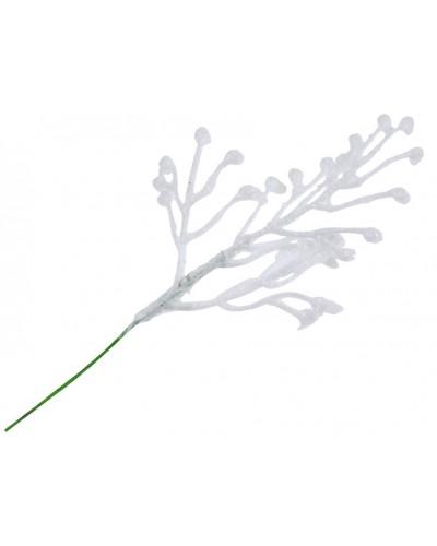 Biała gałązka w brokacie, dekor 5x7cm, sztuka
