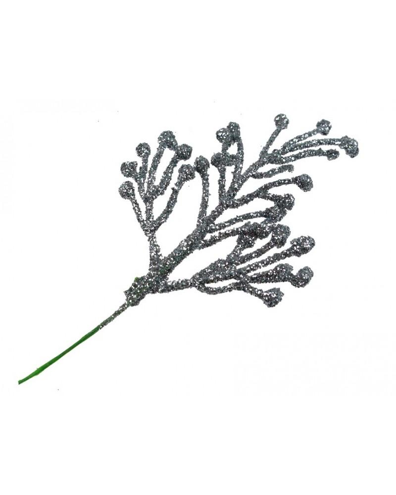 Srebrna gałązka w brokacie, dekor 5x7cm, sztuka