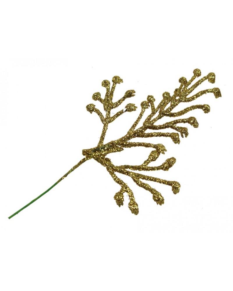 Złota gałązka w brokacie, dekor 5x7cm, sztuka