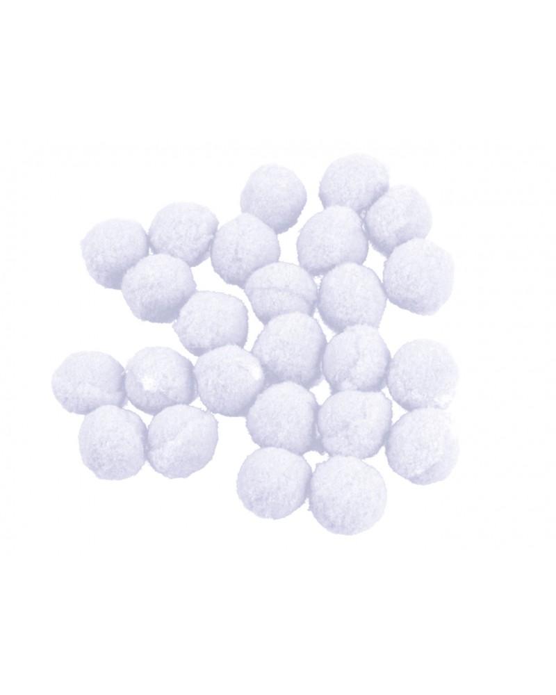Pomponiki dekoracyjne 1,5cm białe