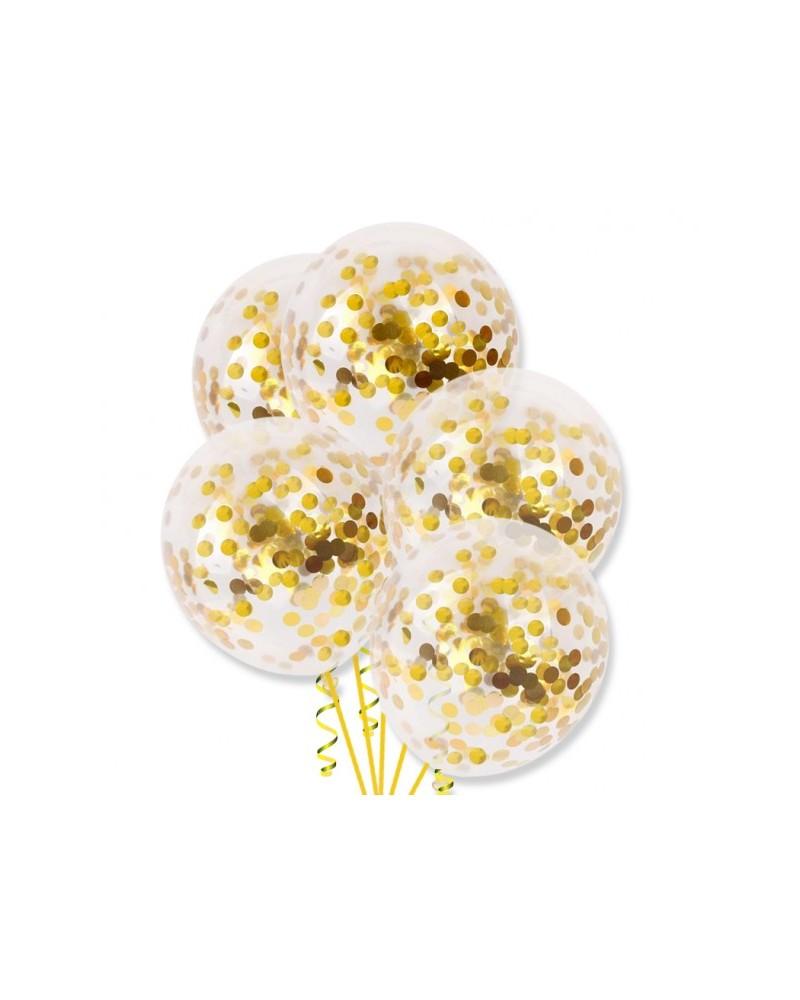 Balony ze złotym konfetti