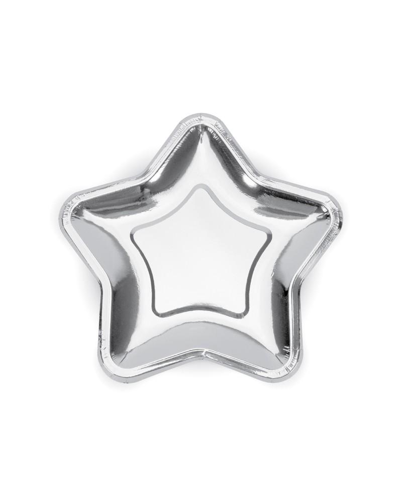 Talerzyki gwiazdy, duże, srebrne