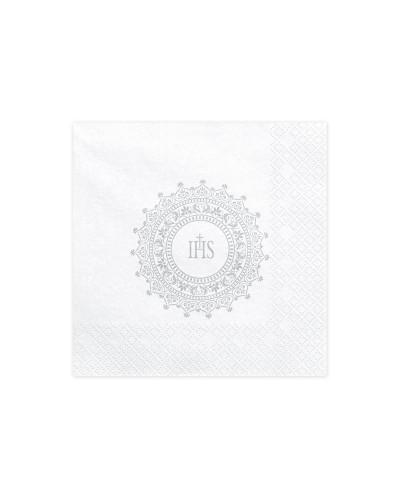 Serwetki na Komunię Białe Srebrne IHS