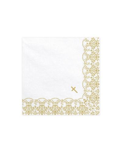 Serwetki Komunia,Chrzest Białe Złoty Krzyż