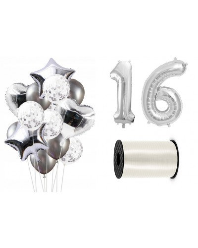 Zestaw dekoracji na urodziny, uniwersalny srebrny