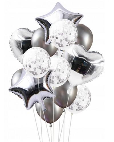 Zestaw na Urodziny Balony srebrne