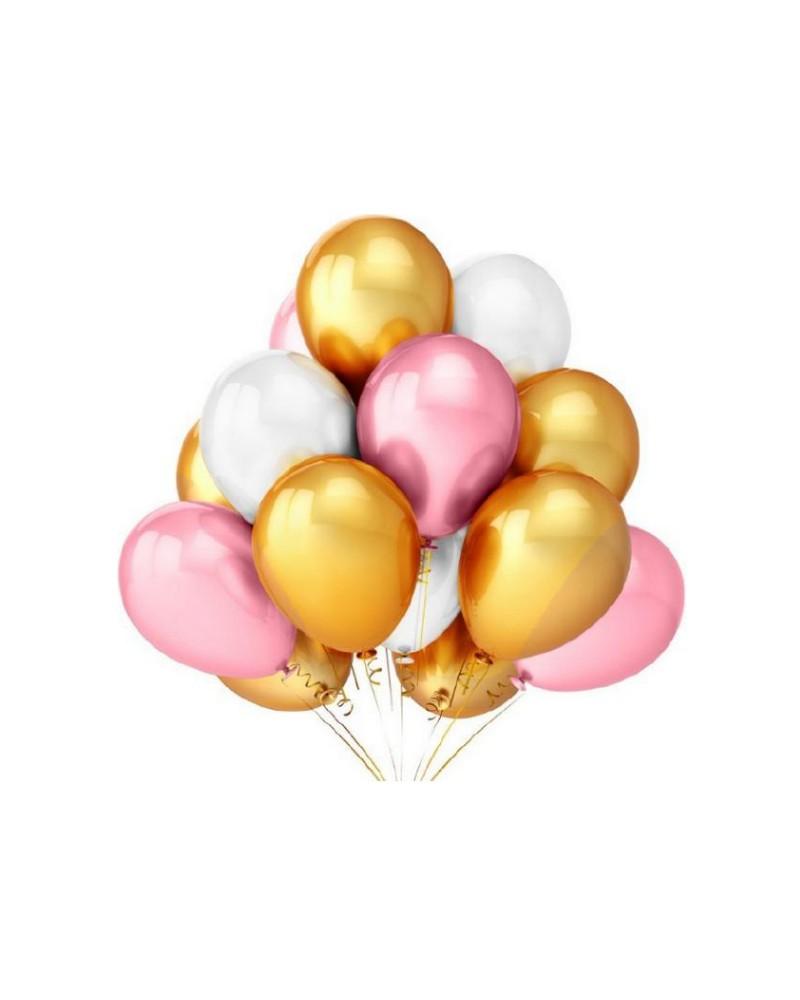 Zestaw na Urodziny Balony Złote Różowe Białe