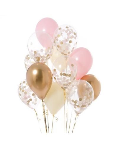 Zestaw na Urodziny Balony Konfetti Różowe Złote