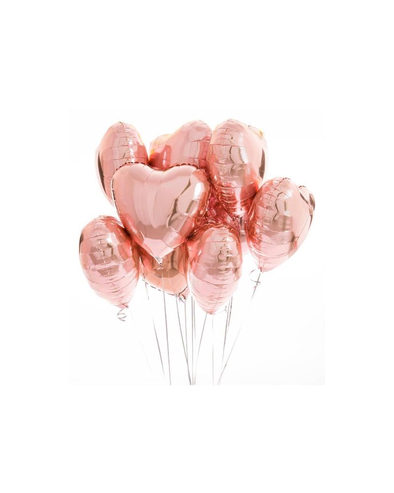 Zestaw Balony Serca Rose Gold 9 szt.
