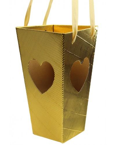 Torebka na kwiaty złote serce, flower box