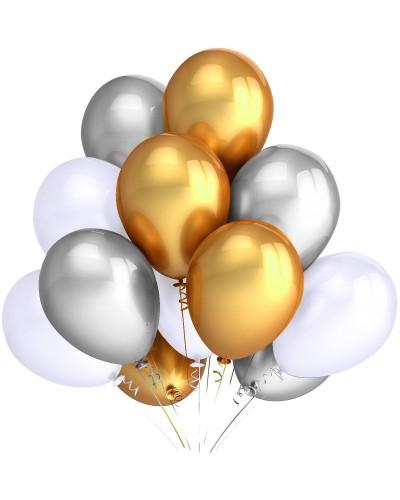 """Balony metaliczne 12"""" białe-srebrne-złote"""