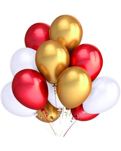 """Balony metaliczne 12"""" białe-czerwone-złote"""